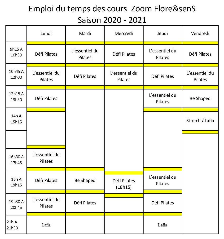 Planning Flore et senS Zoom 2020 2021 (2