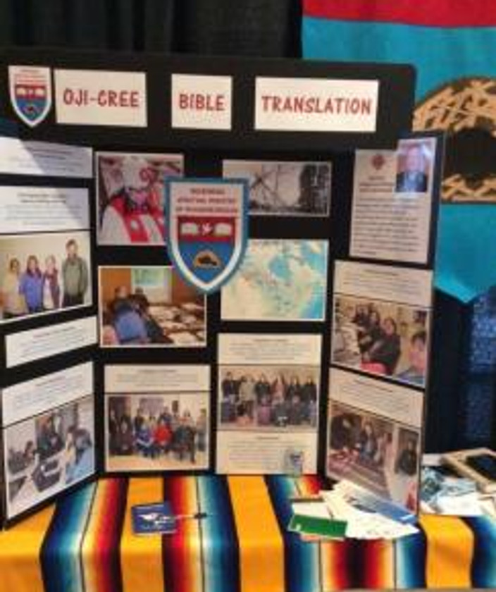 Zipporah & Ruth presenting about Oji-Cree Bible Translation at General Synod in Toronto