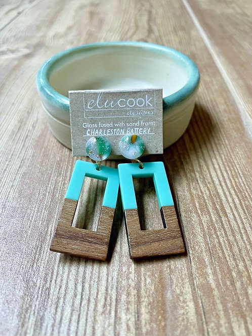 Charleston Battery Glass and Wood Earrings by eluCook Designs