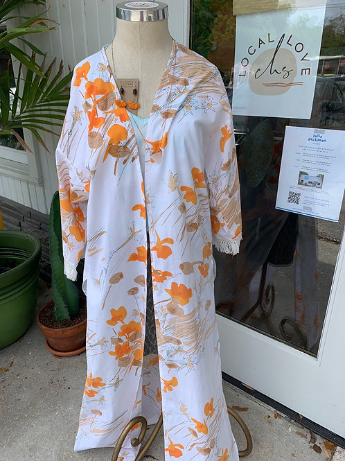 Vintage Orange Floral Kimono by Dot + Maude