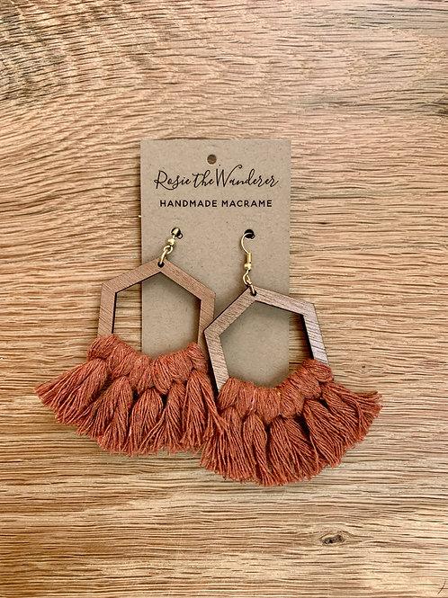 Macrame and Wood Hexagon Earrings by Rosie the Wanderer