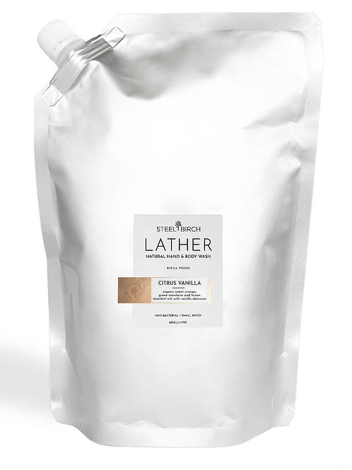 Lather Natural Hand and Body Wash Refill Pouch by Steel Birch