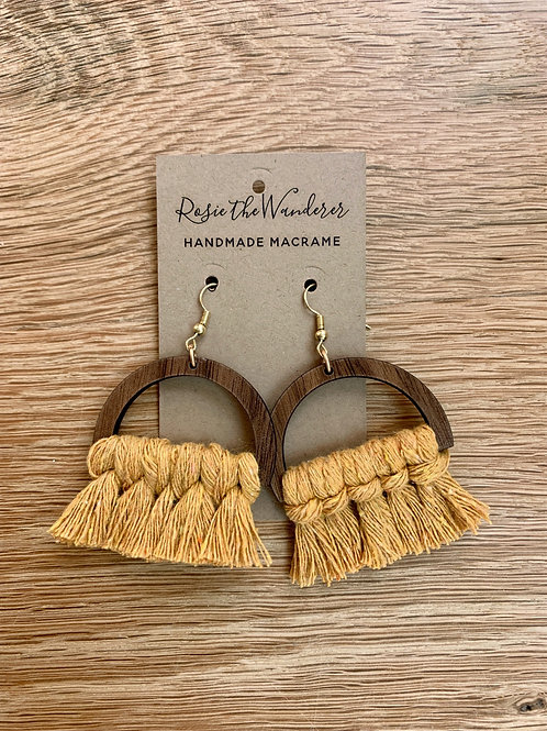Macrame and Wood Semi Circle Earrings by Rosie the Wanderer