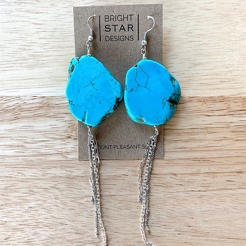 Turquoise and Silver Earrings by Bright Star Designs