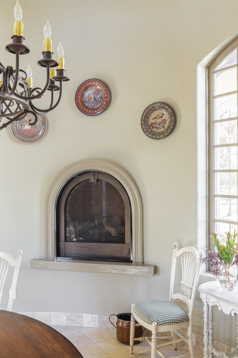 Arched Dining Room Fireplace