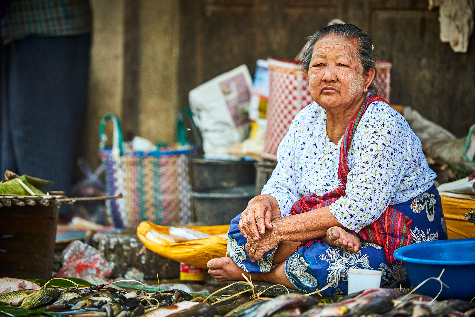 Old lady at the market at Inle Lake, Myanmar