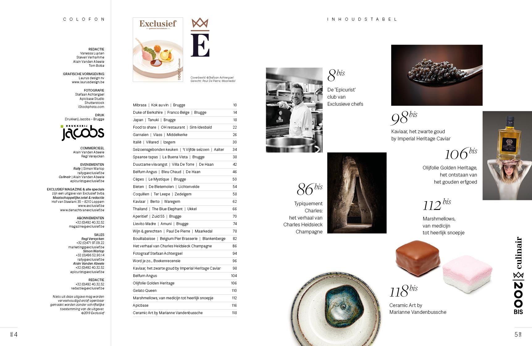 Colofon en inhoud voor Exclusief magazin