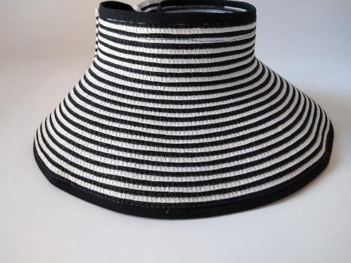 כובע קש פסים שחור לבן