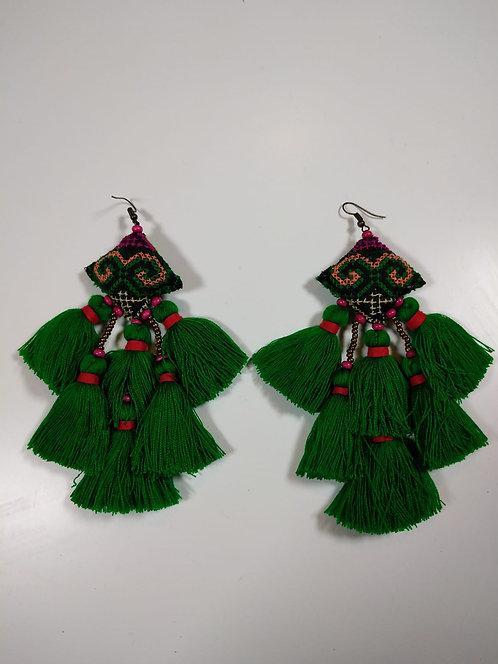 עגילים אתני ירוק