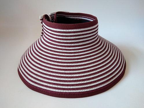 כובע קש פסים בורדו לבן