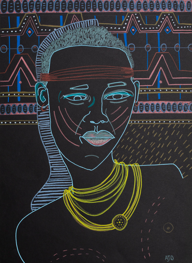 coloured pencil and posca on black cotton paper