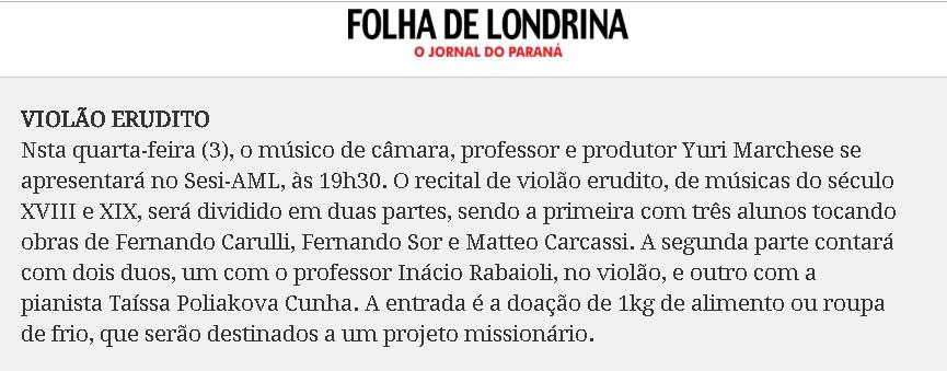 NOTA FOLHA RECITAL 3 DE JULHO