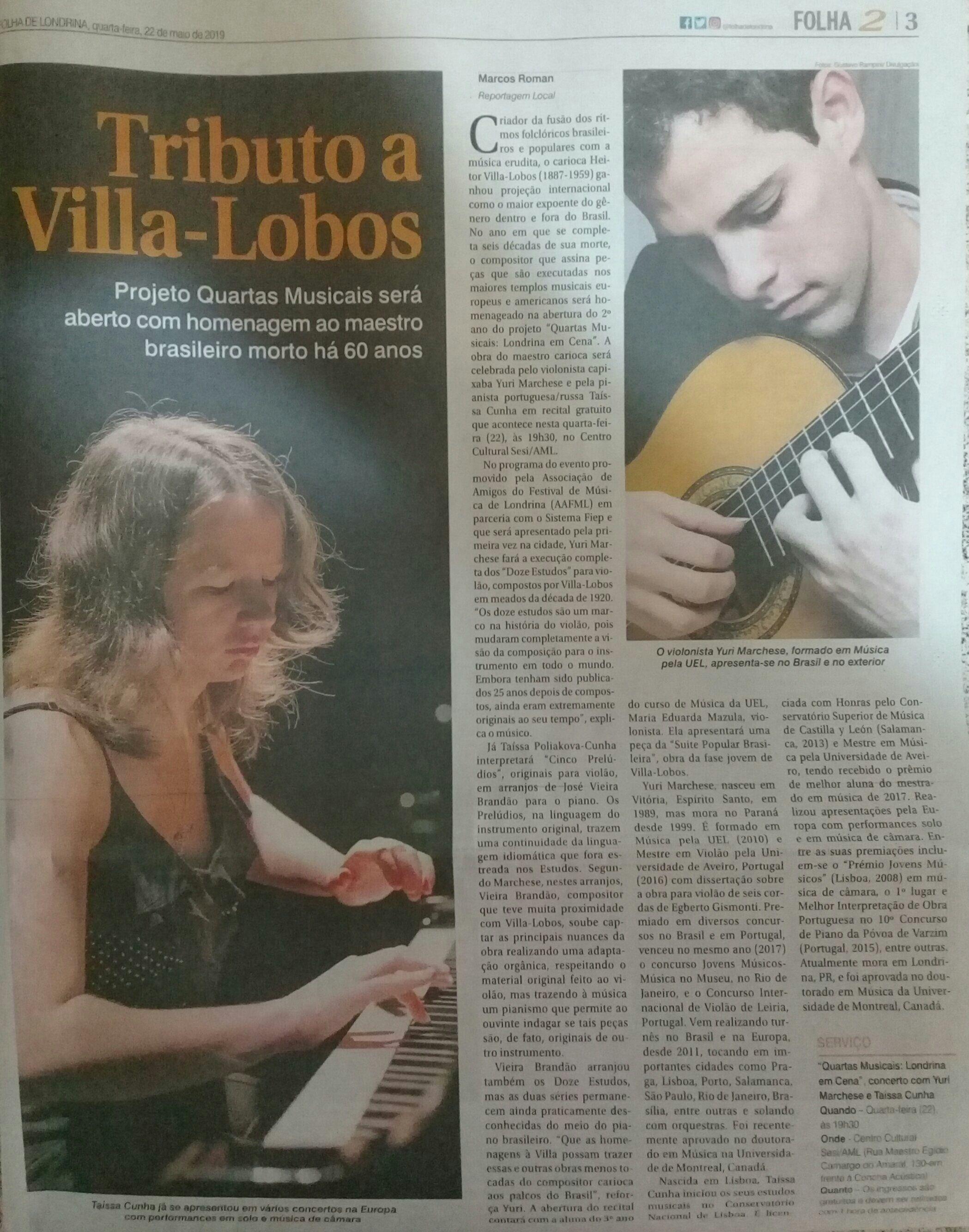 Matéria sobre o Concerto em Homenagem à Villa-Lobos em Londrina, 2019.