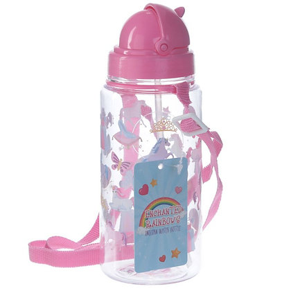 Reusable Water Bottle With Straw - Enchanted Rainbow Unicorn Design