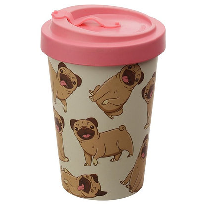 Mopps Pug Reusable Bamboo Travel Mug
