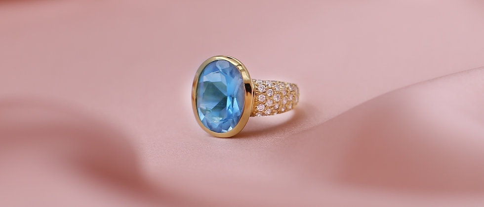 18kt gold-plated big blue ring