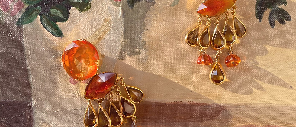 Stunning 70s orange and green clips
