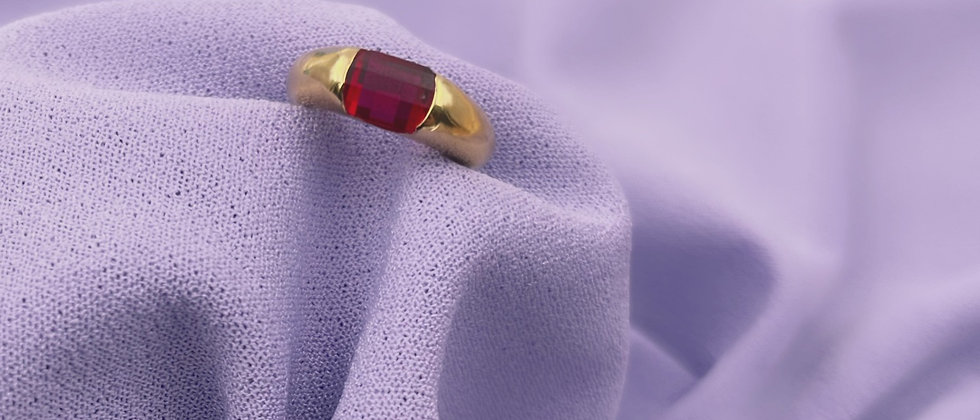 18kt gold-plated red solitaire ring t.47.5