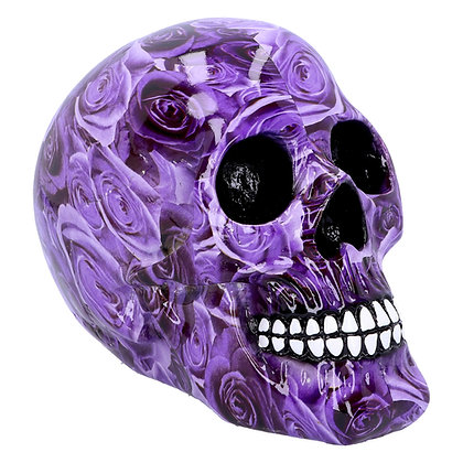 Purple Romance Skull Ornament 18cm