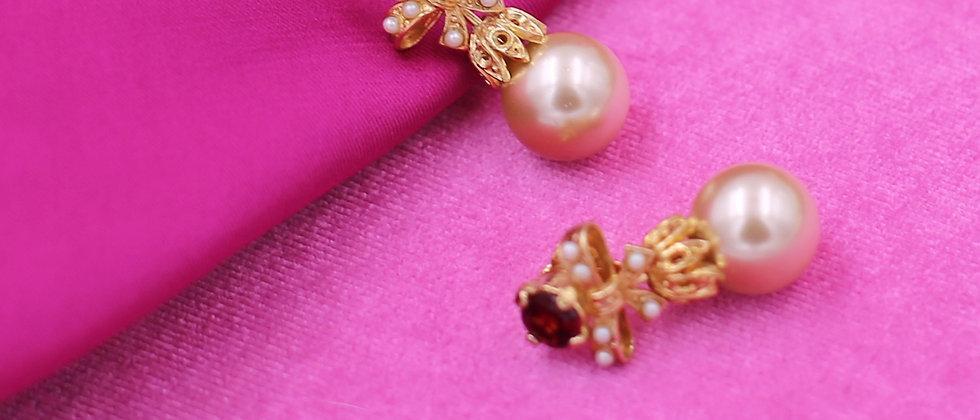 garnet pearly earrings