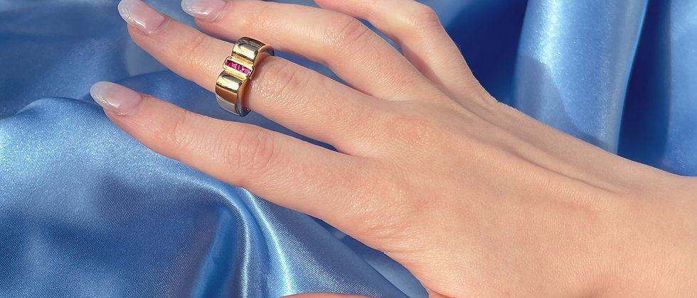 18kt gold-plated red tank ring
