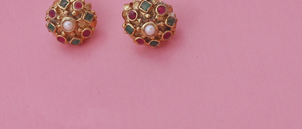 Ruby and emerald studs