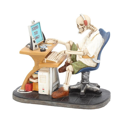 Surfed Too Long Skeleton Computer Ornament - 14cm