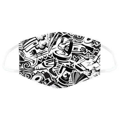 Black and White Graffiti Face Covering - Large