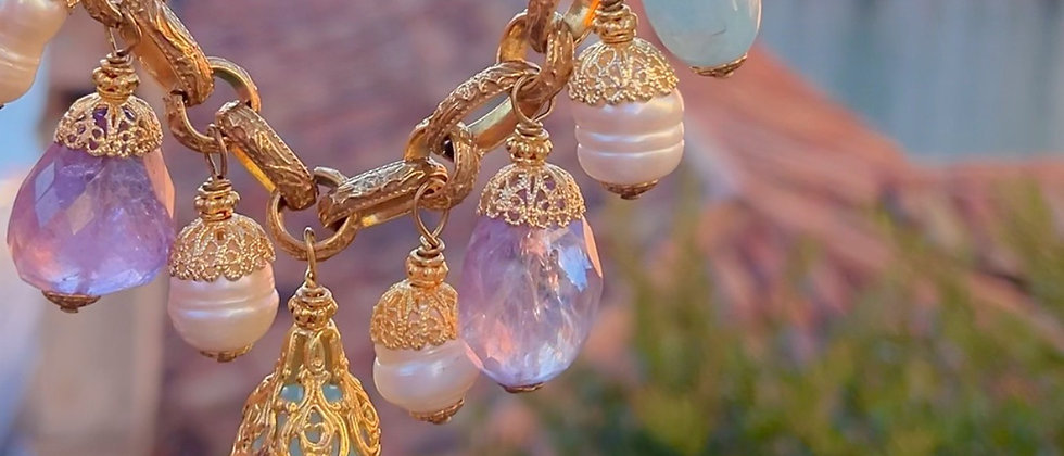 Splendid pearly, aquamarine and amethyst drops necklace