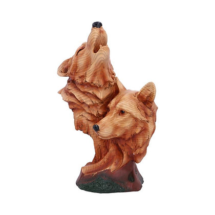 Natural Call Howling Wolf Wood Effect Bust - 23cm