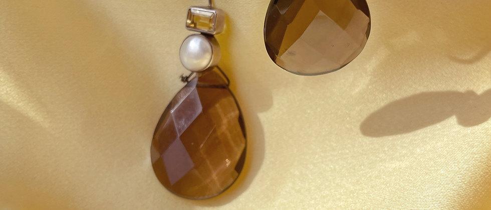 Refined 90s smoked quartz drops
