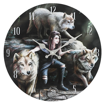 Power of Three Wolves Clock - Anne Stokes