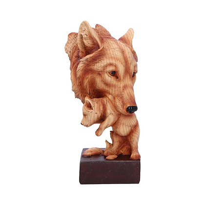 Natural Protection Wolf Mother & Cub Wood Effect Bust - 21.5cm