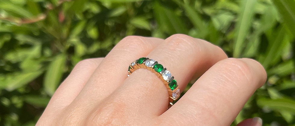18kt gold-plated silver green and white band ring