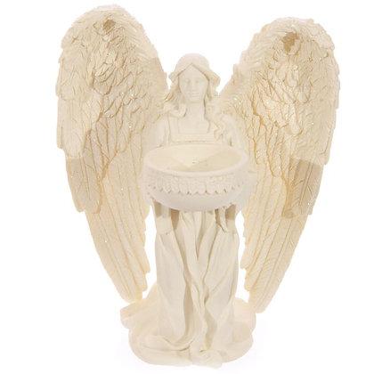 Cream Kneeling Angel Tea Light Holder Ornament - 18cm