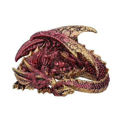 Aaden Red and Golden Resting Dragon Ornament - 10.2cm