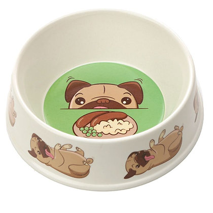 Bamboo Composite Small Mopps Pug Dog Bowl - 17cm
