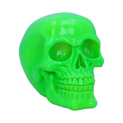 Psychedelic Fluorescent Green Skull Ornament - 15.5cm