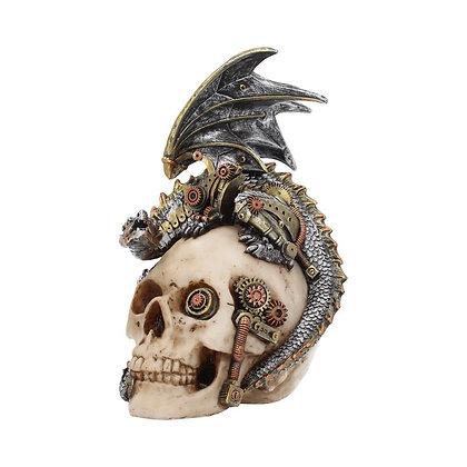 Steel Wing Mechanical Dragon & Skull Ornament 21cm