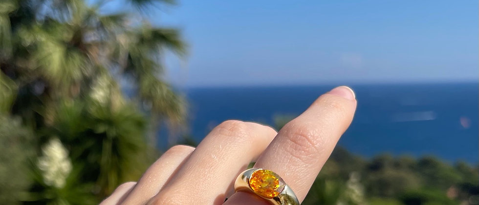 18kt gold-plated silver orange band ring