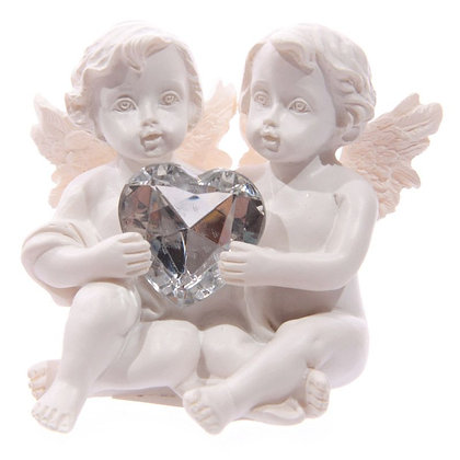 White Cherub Holding Silver Heart Shaped Gem Ornament