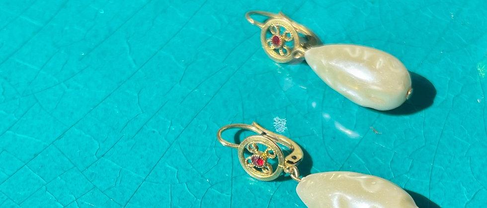 40s cute pearly earrings