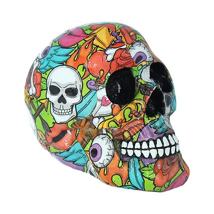 Calypso Graphic Art Skull Ornament 19cm