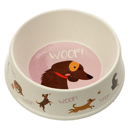 Bamboo Composite Catch Patch Woof Dog Bowl - 17cm