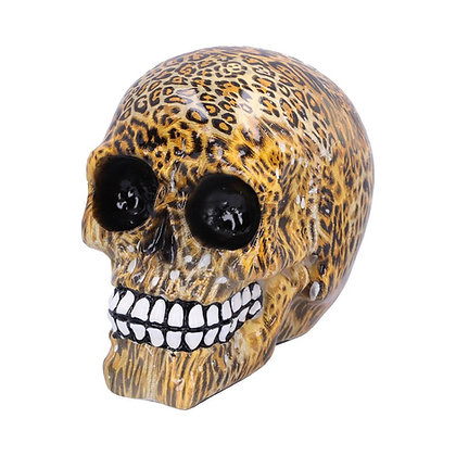 Wild Leopard Skull Ornament 11cm