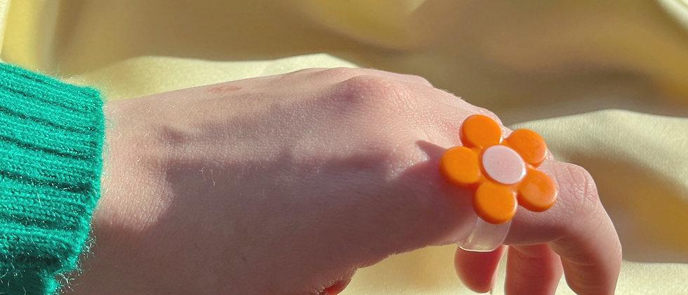 Joyful orange flower ring