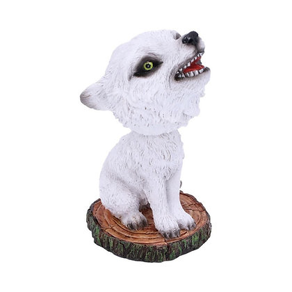 Bobble Cub White Winter Wolf Bobble Head Ornament - 11cm