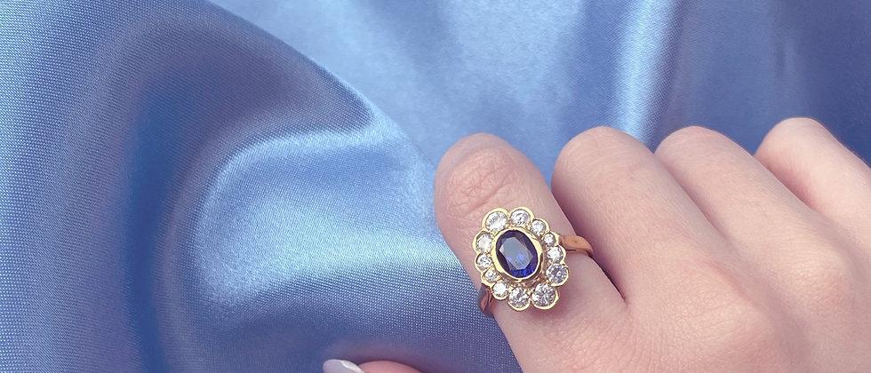 18kt gold-plated margueritte blue velvet ring