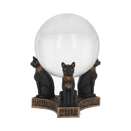 Bastet's Honour Egyptian Cat Crystal Ball Holder - 12.7cm