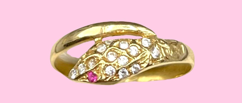 18kt gold serpent ring with diamonds and rubies